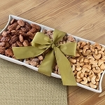Gourmet Artisan Nuts in Keepsake Ceramic Serving Tray